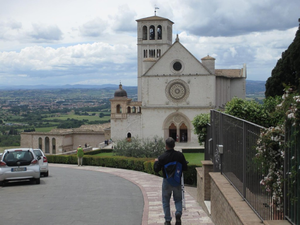 Front view of Basilica of St Francesco, Assisi, Italy
