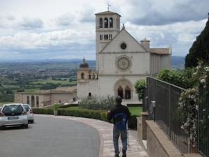 View of JB walking to Basilica of San Francesco, Assisi, Italy
