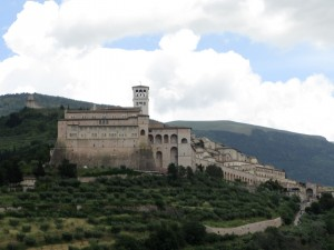 View of Assisi from the car approaching