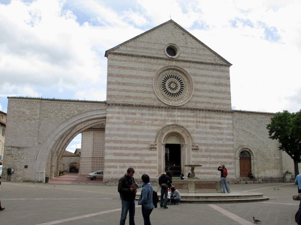 Front view of the Basilica of St Clare (Santa Chiara) in Assisi, Italy